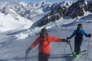 skiing on gebroulaz glacier