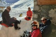 lunch at Saut hut after Gebroulaz glacier